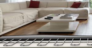 Underfloor heating with wooden floor