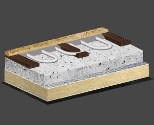 Underfloor heating using screed between batons on a concrete floor