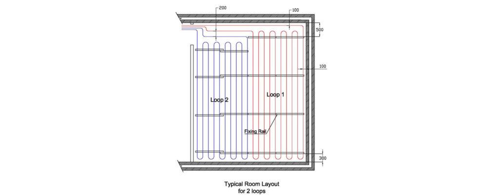 two loop twin zone underfloor heating system diagram
