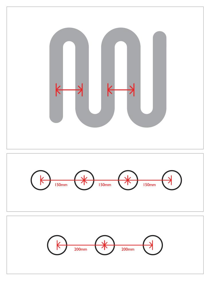 How to measure underfloor heating pipe centres diagram
