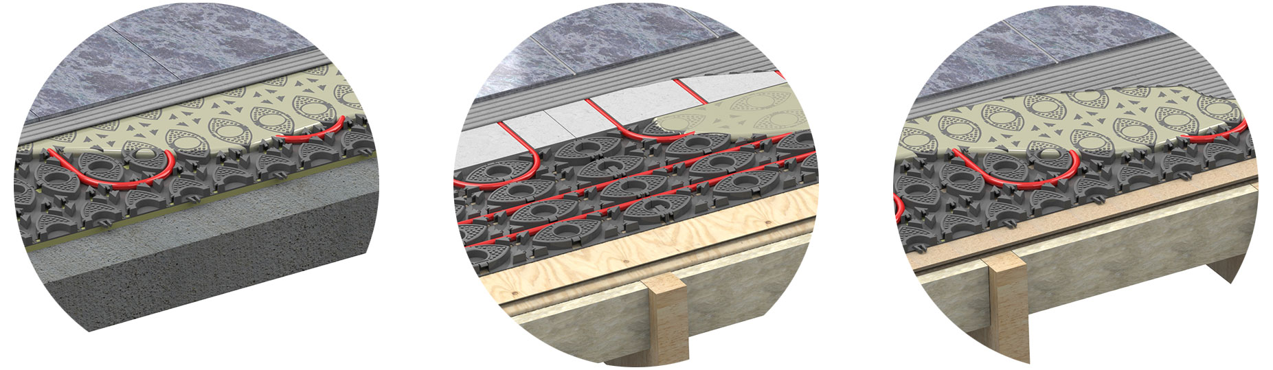 Retro fit low profile underfloor heating systems