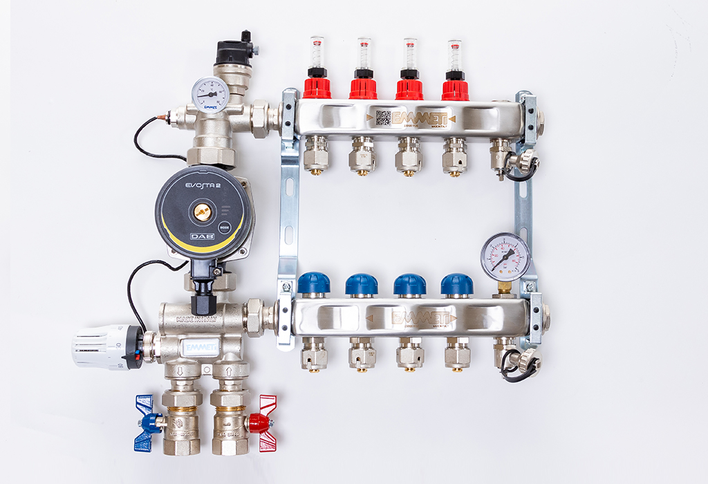 Underfloor heating mixing manifolds 2-12 port